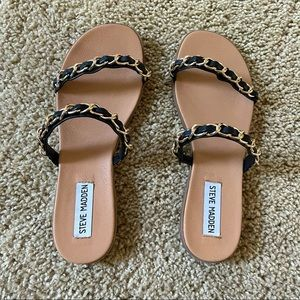 Steve Madden Black & Gold Slide Sandals